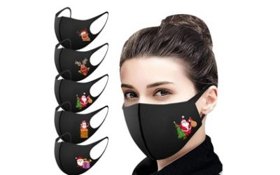 5-Pack of Christmas-Themed Face Masks