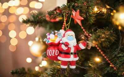 One or Two Handmade 2020 Santa with Face Mask Christmas Tree Decorations