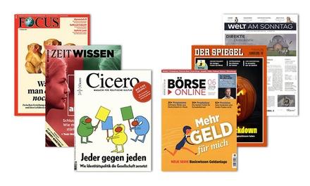 Jahres-Abo für Focus, Zeit Wissen, Cicero, Börse Online, Der Spiegel, Welt am Sonntag mit Bar-Prämie