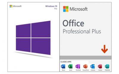 Logiciels Microsoft Windows 10 Pro et/ou Microsoft Office Professional Plus 2019, téléchargeables en ligne