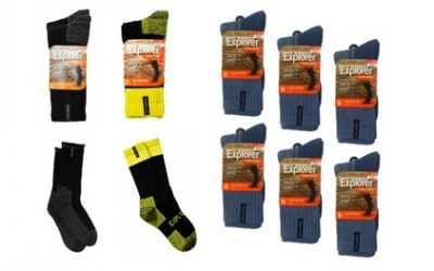 $35 for Six Pairs of Explorer Tough Work Crew Socks with Cotton in Four Bundle Colours (Don't Pay $74.97)