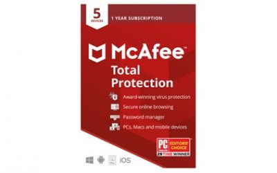 McAfee Total Protection 2021, 5 appareils pour 1 an