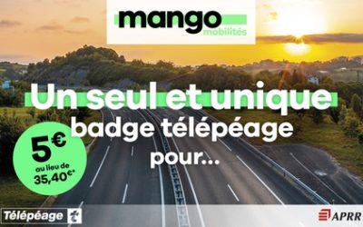 Badge télépéage valable en France et en Espagne et au Portugal avec Mango mobilités by APRR(85%de réduction)